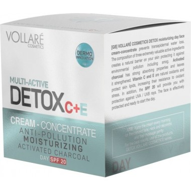 VOLLARE COSMETICS - MULTI-ACTIVE DETOX - дневной крем против загрязнений от первых морщин, предотвращает старение кожи 50 мл.